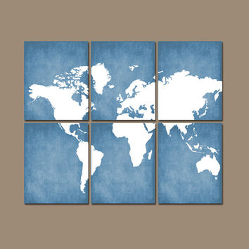 WORLD MAP Wall Art CANVAS or Prints Bedroom Home Grunge Effect Custom Colors Desk Office Library Room Set of 6 Home Decor