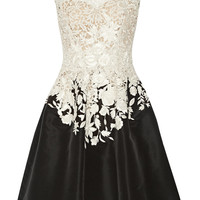 Oscar de la Renta | Embroidered lace and faille dress | NET-A-PORTER.COM