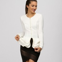 Ivory Structured Peplum Jacket