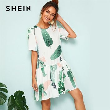 Button Back Ruffle Hem Leaf Print Short Sleeve Dress