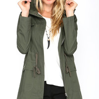 HOODED CARGO JACKET - ARMY GREEN