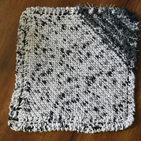 Hand Knit Marbled Black and White Nylon Scrubby and Cotton Cloth Combo