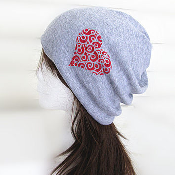 Valentine Oversized Beanie Hat-BLight Grey-Baggy Hat- Head Wrap- Slouch Cap-Hippie Hat