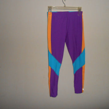 Vintage 80s 90s Women's Neon Running Lycra Spandex Workout Compression Legging Pants Small