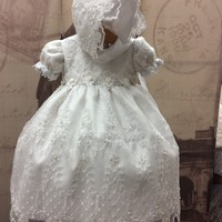 """Precious"" white christening dress-bautizo-flower girl-bridal"