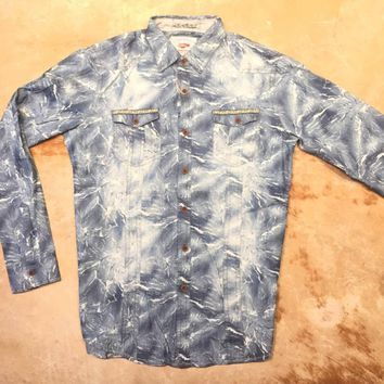 T.R Premium Men`s Bleach Denim Button Up Shirt