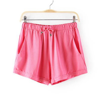 Plain Drawstring Waist Shorts With Pockets