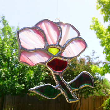 Pink Flower Spring Stained Glass Sun Catcher