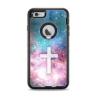 The Vector White Cross v2 over Colorful Neon Space Nebula Apple iPhone 6 Plus Otterbox Defender Case Skin Set