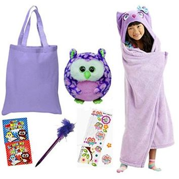Gift Set Owl Microplush Hooded Blanket with TY Owl Beanie Ballz Activity Books Stickers and Pen in Tote 7 Piece Bundle