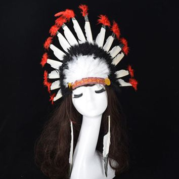 Hot Halloween Carnival Day Colorful Feather Party Hats Headband Indian Style Headwear Villus Chiefs Cap Party Headdress