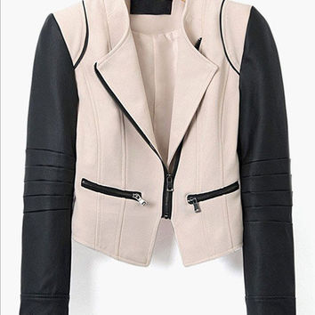 Beige Leather Sleeve Short Jacket