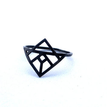 Architectural geometric vitro ring -sterling silver oxidized ring