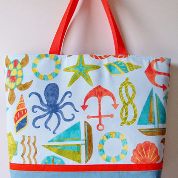 SUMMER Large Tropical Sea Beach Theme Anchors Starfish Sailboat Tote/Purse/Beach Pool Bag/Diaper/Carry All/Vacation/Travel