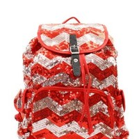Chevron Sequin Backpack Red/silver
