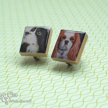 Cavalier King Charles Spaniel Brooch Set, Handmade Dog Scrabble Tile Art Brooch, Wood Brooch, Pin, Scarf Pin, Tiny Jewelry, Dog Lover Gift