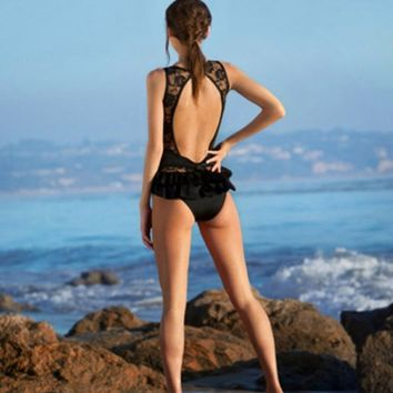 Lace Patchwork Ruffle Black One Piece Swimsuit 10271