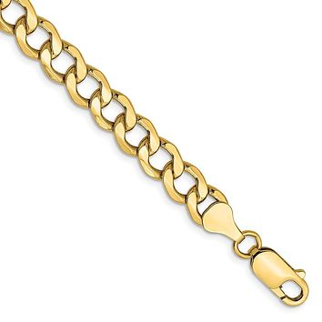Men's 7mm, 14k Yellow Gold, Hollow Curb Link Chain Bracelet