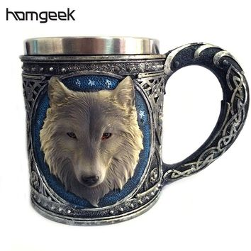 Homgeek 350mL Resin Stainless 3D Wolf Head Mugs