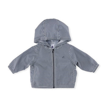 Petit Bateau Hooded Zip-Up Striped Windbreaker Jacket, Size 6-36 Months