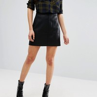 New Look A-Line Leather Look Mini Skirt at asos.com