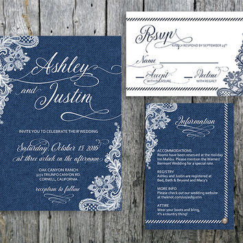 Country Chic Wedding Invitation Suite Denim and Lace - Invitation, RSVP and Information Card