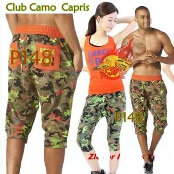 woman dance pants Club Camo Harem Capris women Trainning & Exercise bottoms army green P148