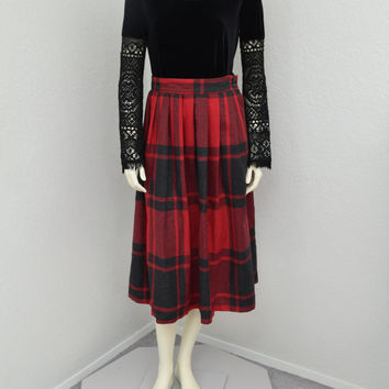 Vintage 70s Wool Red And Black Plaid Pleated Skirt,  High Waisted Midi Skirt, 50s Style Tea Length Skirt, Size M
