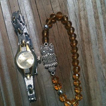 Rustic Owl Bracelet and Watch Set
