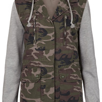 Jersey Sleeved Camo Jacket - Jackets & Coats - Clothing - Topshop USA