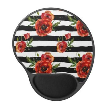 Chic Red Poppy Flowers Gel Mouse Pad