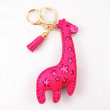 Deer handmade keychain,Leather tassels accessories,gold keychain/ trend accessories, leather keychain--4 colors available
