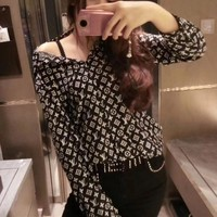 """Louis Vutitton"" Women Casual Fashion Letter Logo Print Cardigan Buttons Long Sleeve Lapel Shirt Tops"