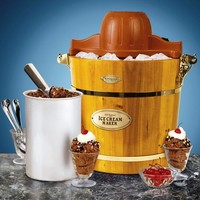 Nostalgia ICMW400 Vintage Collection 4-Quart Wood Bucket Electric Ice Cream Maker with Easy-Clean Liner