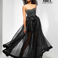 Black & Silver Beaded Organza Over Satin Strapless Bow Illusion Prom Dress - Unique Vintage - Prom dresses, retro dresses, retro swimsuits.