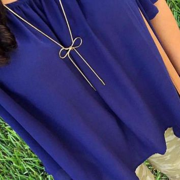 Long Gold Bow Necklace