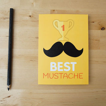N1 Best Mustache - Hipster Greeting Card for birthday or fathers day