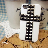 white cross metal rivet case for iphone 4/4s