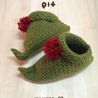 Elf Baby Booties Crochet PATTERN for Christmas Winter Holiday
