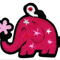 Large Chenille Cute Pink Elephant Patch 14cm Applique