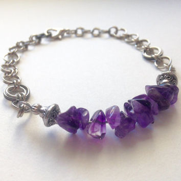 Bracelet,Amethyst purple chip stacking Bracelet, Gemstone bracelet,Amethyst, Gift Idea, Graduation, For Her