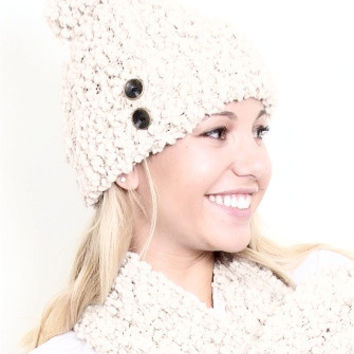WB Shearling Hat With Buttons