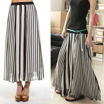 Women Girl Black/White Stripe Summer Chiffon Maxi Long Full Skirt Elastic waist 13981 (Size: L, Color: Black white)