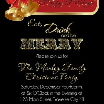 Gold Bells Christmas Party Invitations