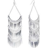 Silver Tone Cascading Thorns Dangle Earrings