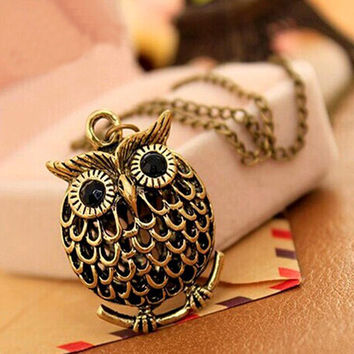 Delicate Owl Small Pendant Long Chain Necklace