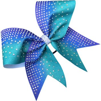 Ombre glitter dye sublimated bow with clear rhinestones