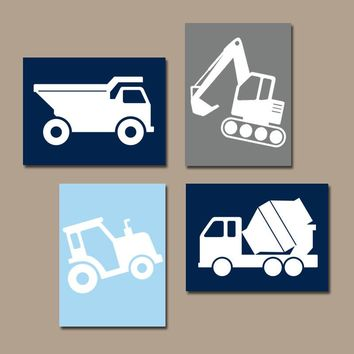CONSTRUCTION Wall Art, Construction Decor, CANVAS or Prints, Tractor Truck Wall Decor, Big Boy Room Decor, Transportation Theme Set of 4
