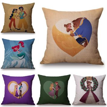 Fairy Tale Mermaid Ariel Rapunzel Snow White Princess cushion Home Decor Cushion Cover Girl's Valentine Gift Pillow Case Cojines
