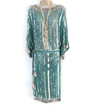 Vintage 80's Saks Fifth Ave Teal Blue Chiffon Silver Sequin Art Deco Inspired Long Cocktail Dress